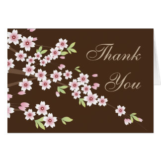 Pink and Brown Cherry Blossom, Thank you Note Stationery Note Card
