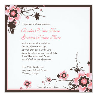 Pink and Brown Cherry Blossom Wedding Invitation