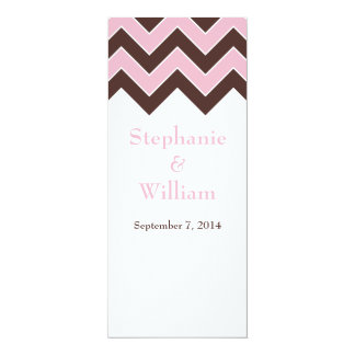 Pink and Brown Chevron Wedding Menu Cards