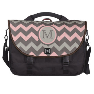 Pink and Brown Chevron with Initial Laptop Commuter Bag