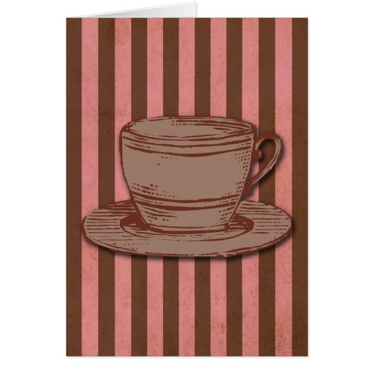 Pink and Brown Coffee Design Card
