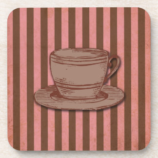 Pink and Brown Coffee Design Drink Coaster