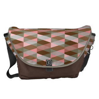 pink and brown colors geometric figure patterns messenger bag