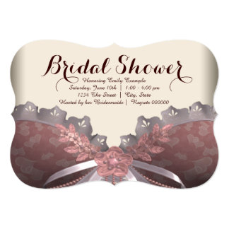 Pink and Brown Corset Bridal Shower 5x7 Paper Invitation Card