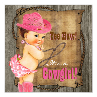 Pink and Brown Cowgirl Baby Shower Card