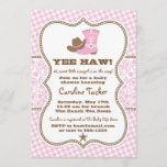 """Pink and Brown Cowgirl Baby Shower Invitation<br><div class=""""desc"""">Preppy cowgirl baby shower invitation design in pink and brown on a paisley and gingham background. Additional color schemes and versions of this design are available in our shop, as well as coordinating items. Contact us if you need this design applied to a specific product! Thank you so much for...</div>"""