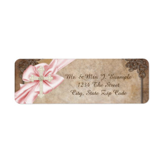 Pink and Brown Cross Address Label