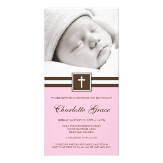 Pink and Brown Cross Baptism Photo Card