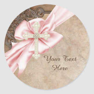 Pink and Brown Cross Christian Classic Round Sticker