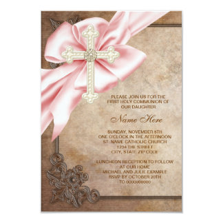 Pink and Brown Cross First Communion 3.5x5 Paper Invitation Card