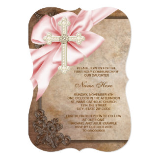 Pink and Brown Cross First Communion 5x7 Paper Invitation Card