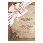 Pink and Brown Cross First Communion Personalized Announcement