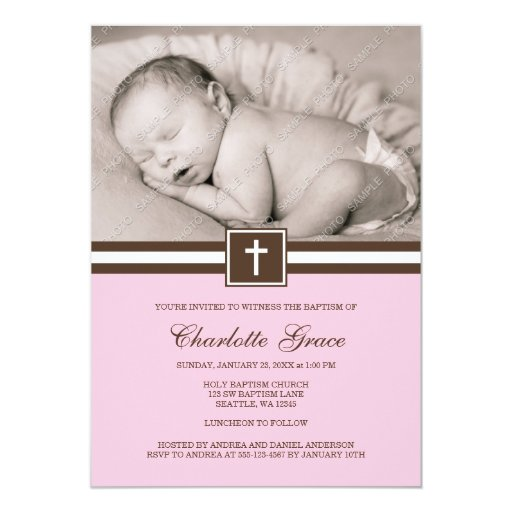 Pink and Brown Cross Girl Photo Baptism Card