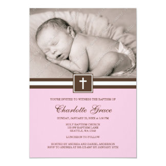 Pink and Brown Cross Girl Photo Baptism 5x7 Paper Invitation Card