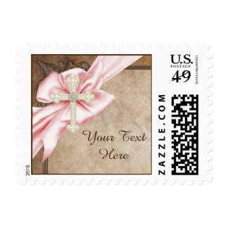 Pink and Brown Cross Postage