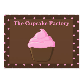 "Pink and Brown Cupcake ""chubby"" Business Cards"