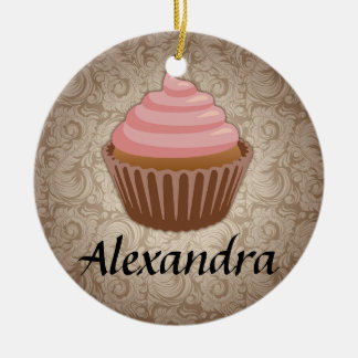 Pink and Brown Cupcake Custom Round Ornament
