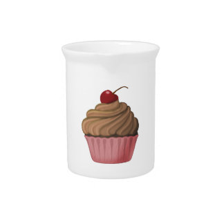 Pink and Brown Cupcake Drink Pitcher