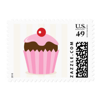 Pink and brown cupcake postage stamp