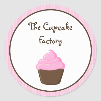 Pink and Brown Cupcake Round Sticker
