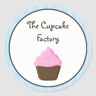 Pink and Brown Cupcake with Blue Stripes Round Stickers