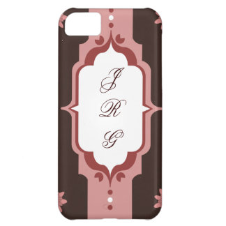 Pink and Brown Custom Monogram Cover For iPhone 5C