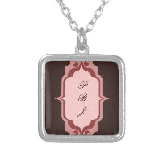 Pink and Brown Custom Monogram Custom Necklace