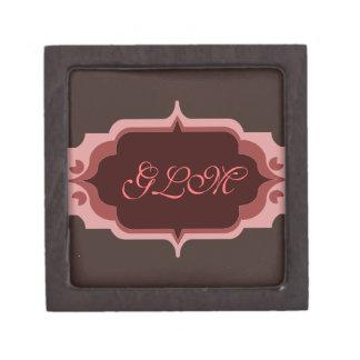 Pink and Brown Custom Monogram Premium Jewelry Box