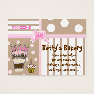 Pink and Brown Cute Bakery Business Card