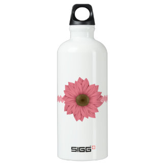 Pink and Brown Daisy Aluminum Water Bottle