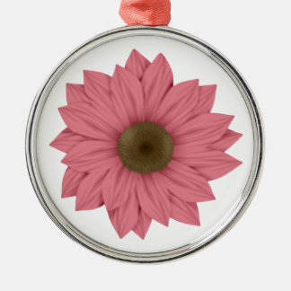 Pink and Brown Daisy Metal Ornament