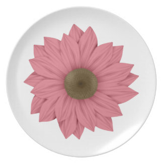 Pink and Brown Daisy Plate