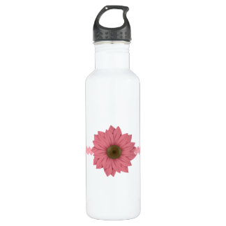 Pink and Brown Daisy Stainless Steel Water Bottle