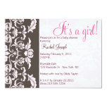 """Pink and Brown Damask Baby Girl Shower Invite 5"""" X 7"""" Invitation Card"""