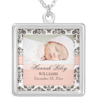Pink and Brown Damask Baby Photo Necklace