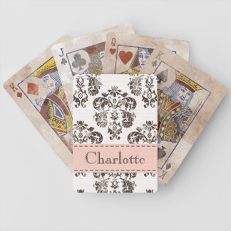 Pink and Brown Damask Bicycle® Playing Cards