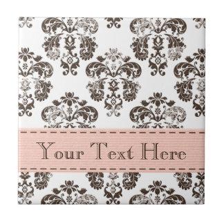 Pink and Brown Damask Ceramic Tile Trivet