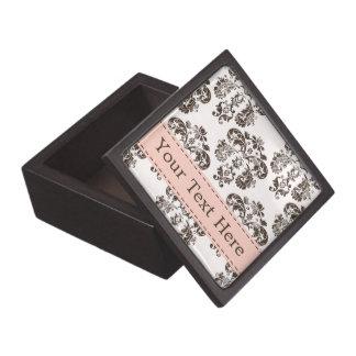 Pink and Brown Damask Gift Box Premium Keepsake Box