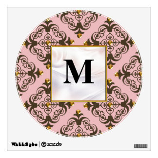 Pink and Brown Damask Monogram Wall Stickers