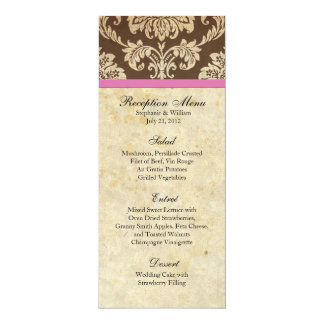 Pink and Brown Damask Reception Menu 4x9.25 Paper Invitation Card