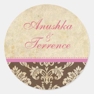Pink and Brown Damask Stripe Wedding Sticker