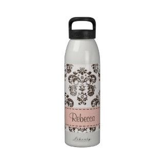 Pink and Brown Damask Water Bottle BPA Free