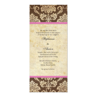 Pink and Brown Damask Wedding Invitation