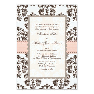 Pink and Brown Damask Wedding Invitations