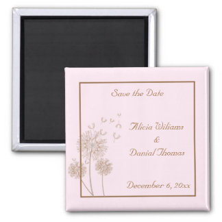 Pink and Brown Dandelion Save the Date Magnet