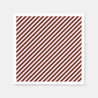 Pink and Brown Diagonal Stripes Paper Napkin