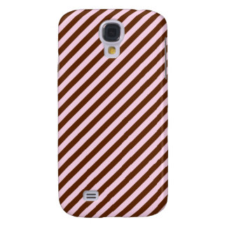 Pink and Brown Diagonal Stripes Samsung Galaxy S4 Cover