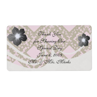 pink and brown diamond chic damask shipping label