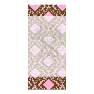 pink and brown diamond chic damask rack cards