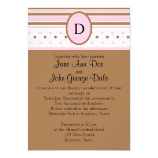 Pink and Brown Dots and Stripes Invitation